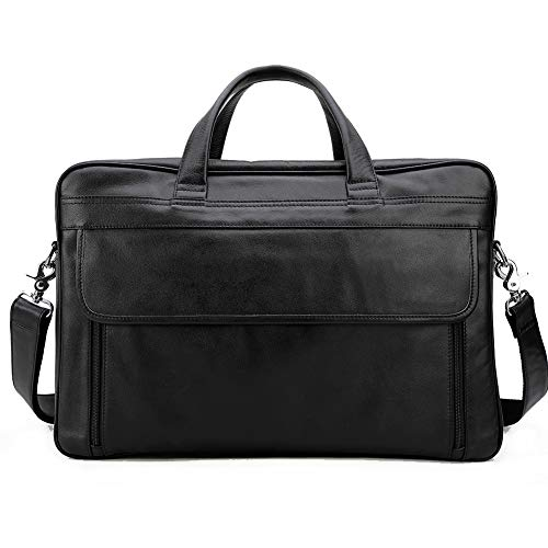(Tiding Soft 17 Inch Genuine Men's Leather Laptop Briefcase Messenger Bag Business Bag)
