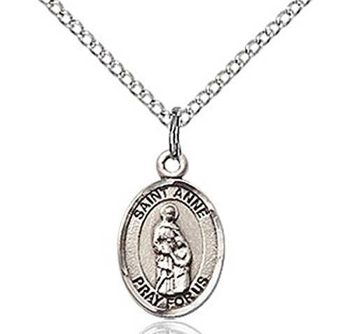 (Sterling Silver Saint Anne Petite Charm Medal, 1/2 Inch )