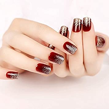 Yunai Deep Burgundy Gradient Glitter Fake Nails Art Salon Manicure
