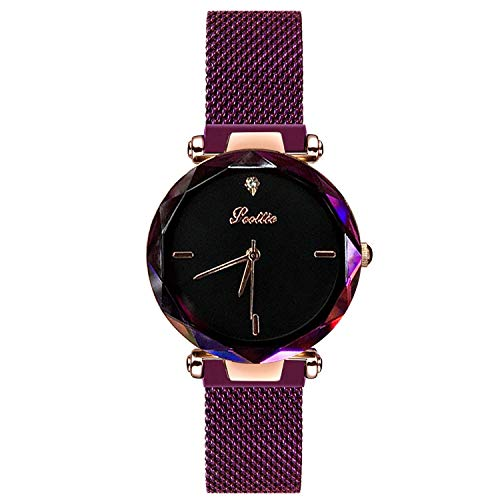RORIOS Fashion Women Analogue Quartz Watches Magnetic Mesh Band Starry Sky Dial Wrist Watches