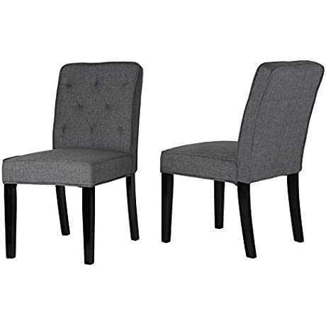 Cortesi Home Lyndon Dining Chair In Grey Linen Fabric With Tufted Back Set Of 2