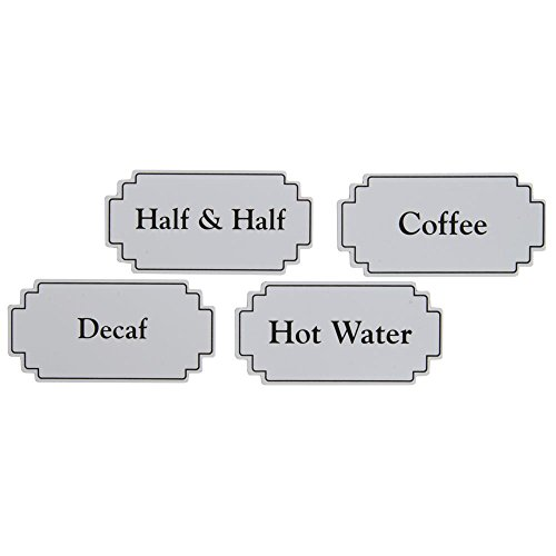Magnetic Airpot Thermal Coffee Dispenser Signs White Plastic Black Silk Screened - 3 5/8