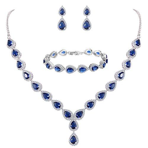 BriLove Women's Wedding Bridal Teardrop CZ Infinity Figure 8 Y-Necklace Tennis Bracelet Dangle Earrings Set Sapphire Color Silver-Tone September Birthstone