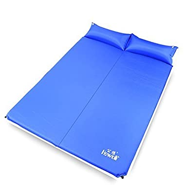 Hewolf Outdoor Waterproof Portable Self-inflating 2 Persons Double Camping Sleeping Pad with Pillow (blue, Thickness: 3cm)