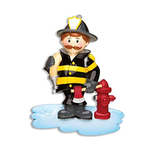 Personalized Fireman Christmas Tree Ornament 2019 - Brunette Firefighter Hose Red Axe Fire Hydrant Emergency Rescue Coworker Fun New Job Agent Academy Profession Brown Beard - Free Customization