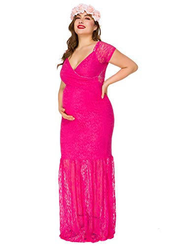 Women's Off Shoulder Short Sleeve Lace Maternity Gown Maxi Photography Dress (Rose, XL)