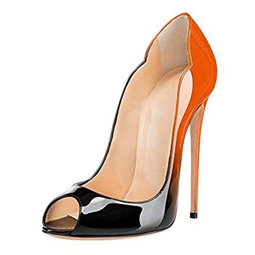 Damen Fashion Open Toe Freie Toe Slip-on Pumps Hohe Absatz Extreme Stiletto Komfort Schwarz Lady Schuhe Orange
