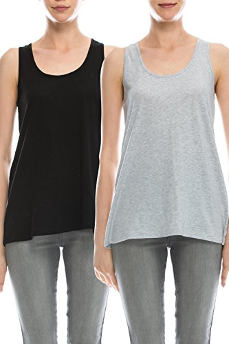 EttelLut Loose Fit tank tops for women plus size Black/Gray XXL
