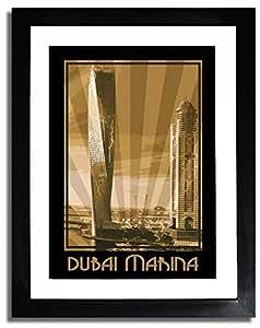 Dubai Marina- Sepia F07-nm (a5) - Framed