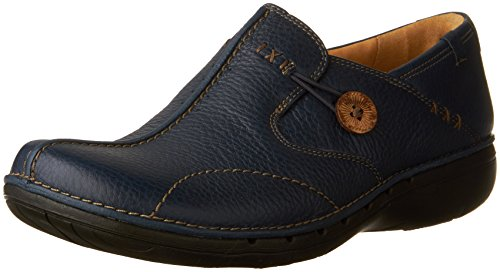 Clarks Slip Leather - Clarks Unstructured Women's Un.Loop Slip-On,Navy,9.5 M US