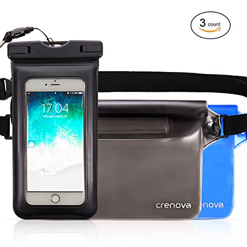 (Waterproof Pouch | Crenova BP-02 100% Waterproof Dry Bag Snowproof Dirtproof Sandproof Case Bag with Super Lightweight and Bigger Space; Adjustable and Extra-Long Belt; Perfect for Beach / Swimming / Boating / Fishing)