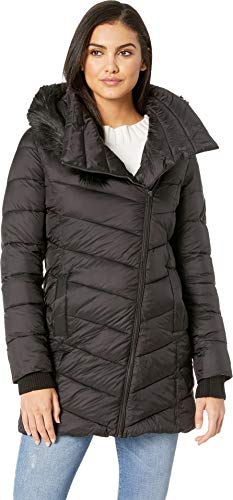 - French Connection Women's Asymmetrical Moto with Faux Fur Black X-Large
