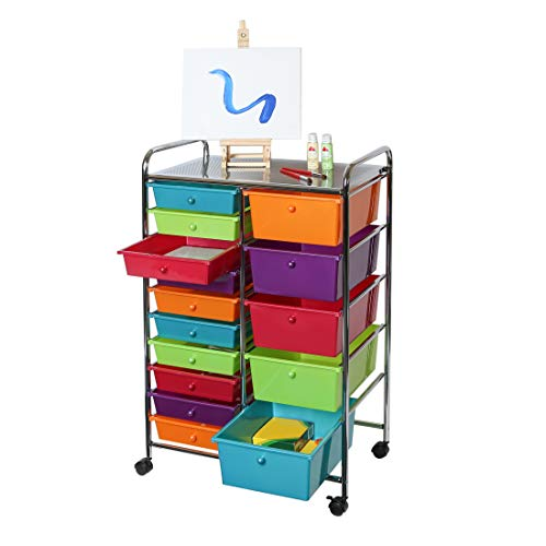 Seville Classics 15-Drawer Organizer Cart Pearlescent Multi-Color