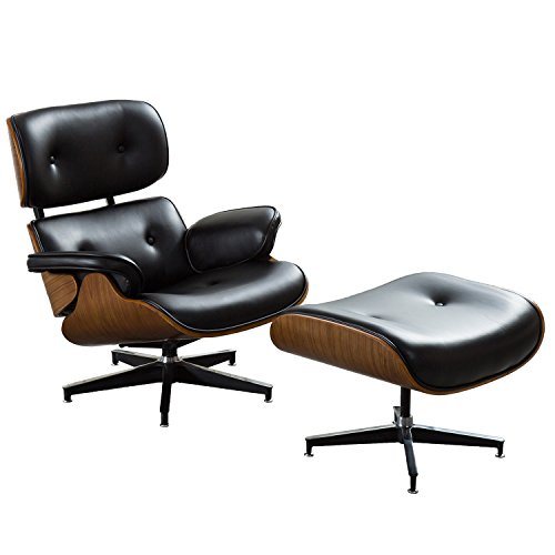 Irene House Plywood Leisure Swivel and Lounge Chair with Ottoman,Black PU Leather Armchair with Foot Stool ()