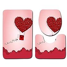 Gxinyanlong Sueño romántico día de San Valentín Cuarto de baño WC Cushion 3 Sets,Diez
