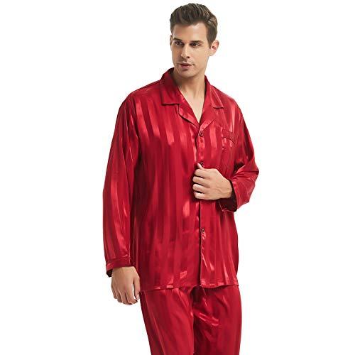 Mens Silk Satin Pajamas Set Sleepwear Loungewear Red XL ()