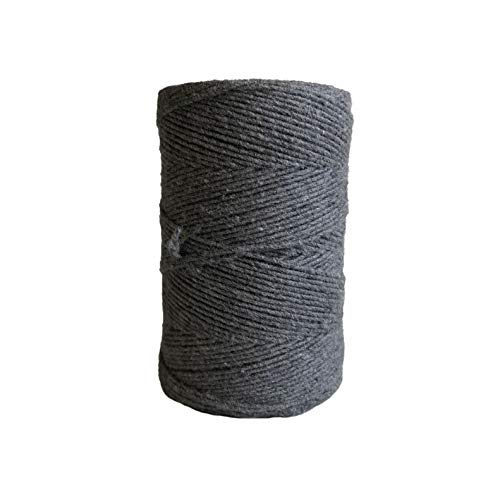 1mm Charcoal Cotton Knotting Rope/Gray Single Strand Macrame Cord ()