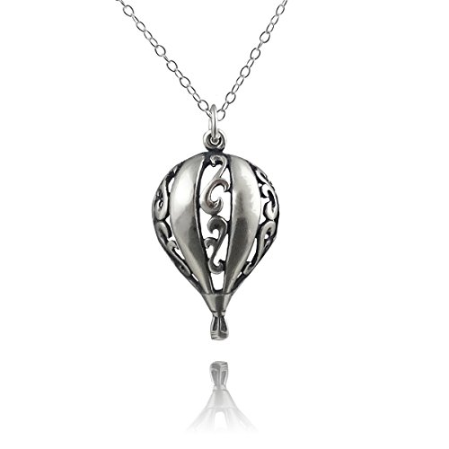 Sterling Silver 3D Filigree Hot Air Balloon Pendant Necklace, 18 Inch Chain