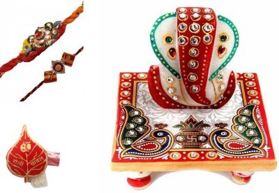 Purpledip Rakhi Hamper, Marble Ganesha, Set Of 2 Rakhis & Auspicious Roli Chawal Packed In Red Paper Paan Packing (Rakhi1a) - Paper Hamper Set