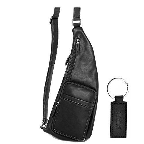 Charmoni Body Holster-Bolso mochila Monobretelle piel de vaqueta, Angers negro