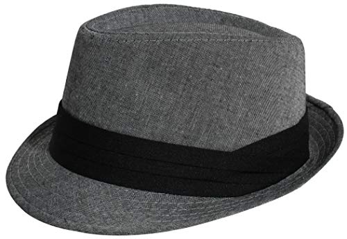 Enimay Vintage Unisex Fedora Hat Classic Timeless Light Weight (Grey Fedora Hat)