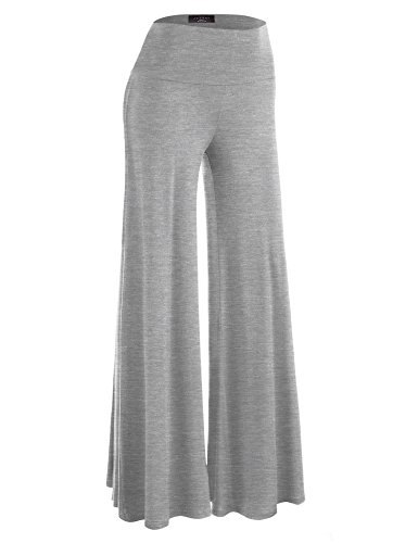 Made By Johnny WB750 Womens Chic Palazzo Lounge Pants L Heather_Gray