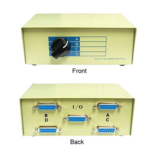 (Kentek DB15 4 Way Manual Data Switch Box 15 Pin I/O ABCD Female Port for PC MAC Monitors MIDI Devices Peripherals)