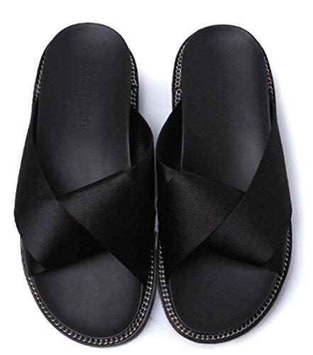 Silk bequeme Sommerschuhe weibliches Studenten-WG mit rutschfesten schweren Boden Sandalen Mode Schuhen mit Metallkreuz black