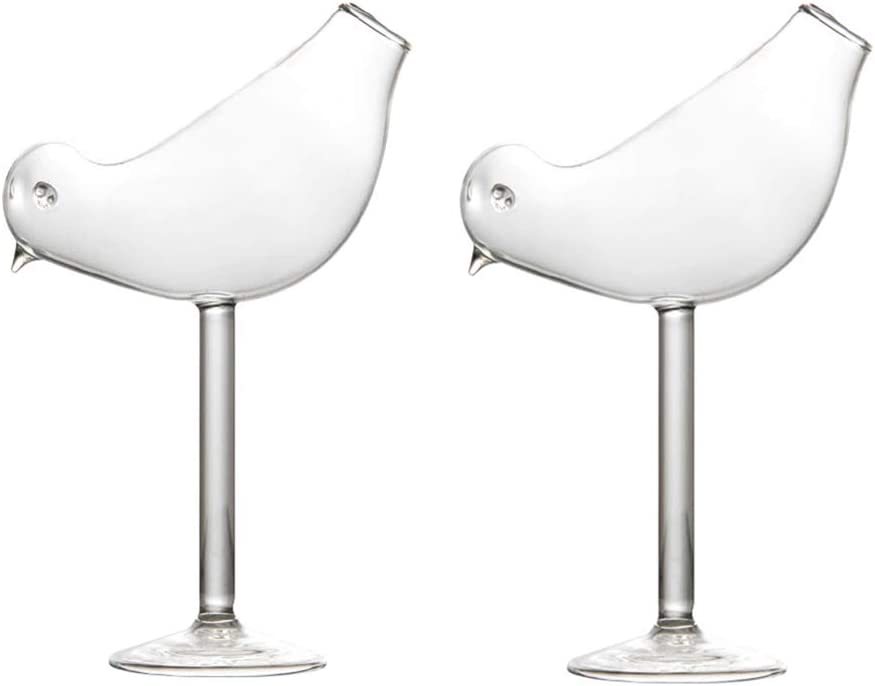 Cocktail Glass - 200ml Creative Bird Design Cocktail Glass Individuality Glass Goblet Set of 2 - GLASS0004 (2)