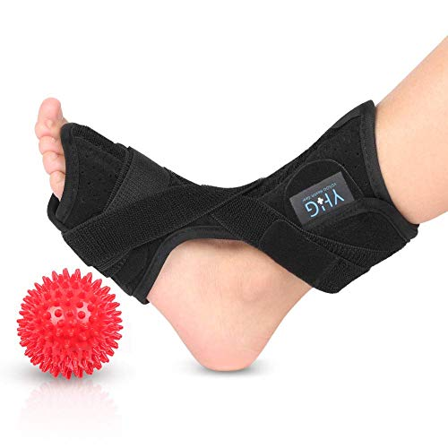 Plantar Fasciitis Night Splint Support, Adjustable Dorsal Foot Drop Orthotic Brace with Spiky Massage Ball for Effective Relief from Achilles Tendonitis, Heel Pain, Plantar Fascia, Drop Foot