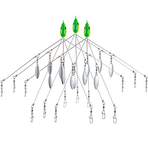 Bassdash Alabama Rigs Castable Umbrella Fishing Rig 0.63oz 7.48in with 5 Arms and 4 Willow Blades for Fishing Bass Bluefish, 3-Pack
