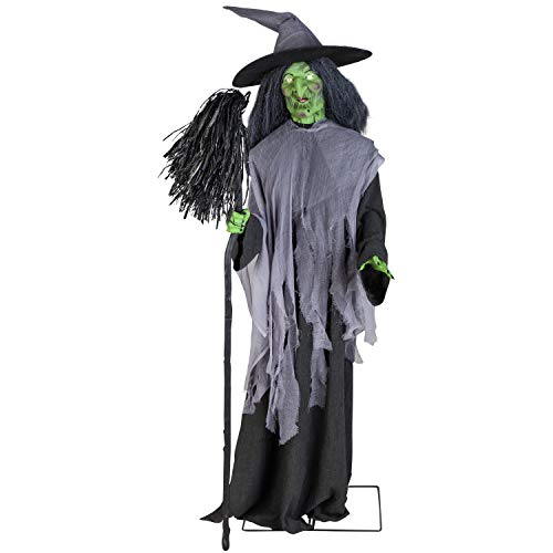 (1) HL Animated Evil Witch W/Broom Life Sized Figurine 220792