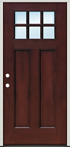Craftsman 6-Lite Fiberglass Entry Door with Mahogany Factory Finish, Right Hand (Single Door Right Hand) - Right Hung Door