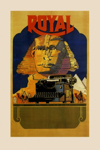 """The Sphinx Pyramids Egypt Royal Typewriter Office Art Camel Desert 16"""" X 22"""" Image Size Vintage Poster Reproduction we have other sizes available"""