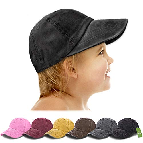 AVANTMEN Kids Baseball Cap Distressed Washed Sunhat Toddlers Little Boys Girls Cotton Hat 2-7 Years (1 Pack Black)