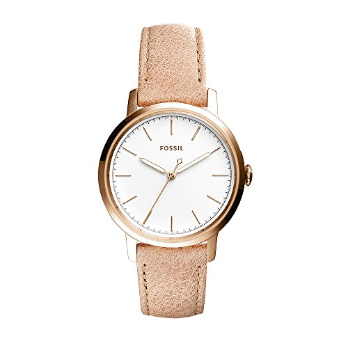 Fossil Women's Neely Quartz Stainless Steel and Leather Casual Watch, Color: Rose Gold-Tone, Brown (Model: ES4185)
