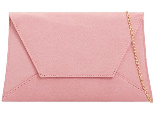 Plain Suede Bag Evening Dusky Hand Clutch ZES Ladies Party Bridal Pink Prom Wedding Purse 1Andq