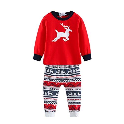 BOBORA Family Matching Pajamas, Christmas Deer PJS Set Sleepwear Nightwear by BOBORA