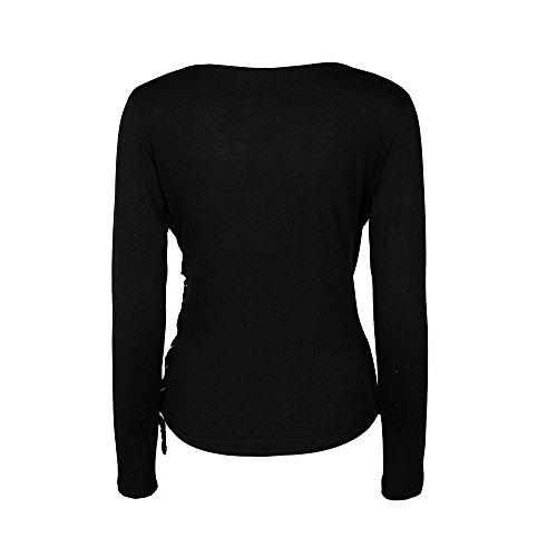 Fashion Longue T Blouse DAY8 Femme Fille Shirt Pas Femme Vetement Taille Chemise Fit Top Haut Manche Vetement Slim Noir Mode Femme Cher Chic Grande Printemps Ete Femme lgant Soiree Femme wwX1qf