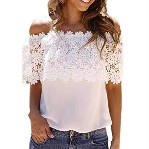 Noopvan Summer Women's Blouse, Fashion Casual Women's Crocheted Collar Off-The-Shoulde Sleeveless Chiffon Shirt Lace Stitching Lace T-Shirt (M, White)