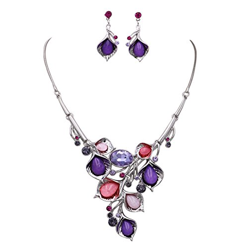Rosemarie Collections Women's Crystal Cluster Floral Leaf and Vine Statement Necklace Set (Silver Tone/Purple and Pink) (Necklace Earrings Crystal Floral)