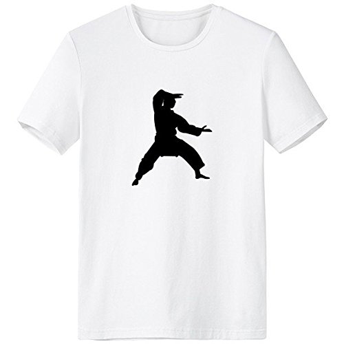 China Chinese Martial Art Shaolin Kung Fu Monk Soldier Traditional Culture Illustration Pattern Crew-Neck White T-Shirt Spring and Summer Tagless Comfort Cotton Sports T-Shirts -