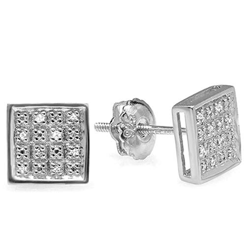 Dazzlingrock Collection 0.10 Carat (ctw) Diamond Square Mens Ladies Unisex Hip Hop Stud Earrings 1/20 CT, Sterling Silver ()