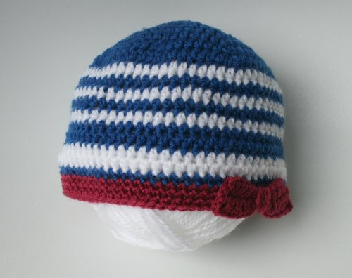 (Crochet pattern, french nautical beanie (55) sizes from newborn to adult (Crochet)