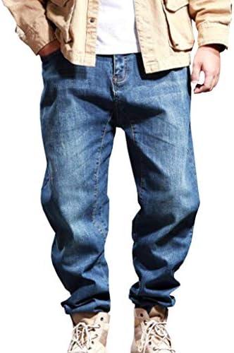 メンズ 大きいサイズ ジーンズ デニム パンツ ストレッチ ゆったり ウエストゴム ジーンズ ヒップホップ カジュアル ロングパンツ ストリート系 ワイドパンツ