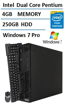 Lenovo IBM Thinkcentre Business Premium Desktop PC Small Form Factor (SFF), Intel Pentium Dual-Core CPU 2.6GHz, 4GB DDR3 RAM, 250GB HDD, DVD, Windows 7 Professional (Certified Refurbished) (Pentium Pci Cpu)