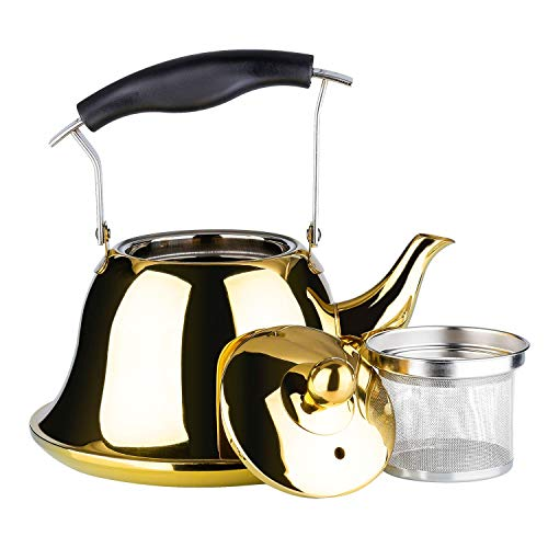 Whistling Tea Kettle with Infuser Stainless Steel Teapot Gold Teakettle for Stovetop Induction Stove Top Fast Boiling Heat Water Cute Tea Pot 2-Liter 2.1-Quart