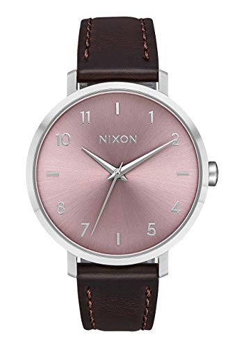 Nixon Arrow Leather Silver/Pale Lavender Casual Women's Watch (38mm. Silver & Pale Lavender Face/Brown Leather Band) ()