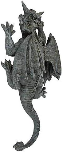 Design Toscano Gargoyle Demon on the Loose Gothic Decor Wall Sculpture, Large, 18 Inch, Polyresin, Grey Stone