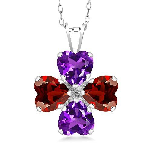 3.28 Ct Heart Shape Purple Amethyst Red Garnet 925 Sterling Silver Pendant